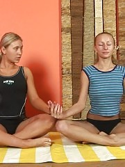 Sexcited lesbian yoga adepts in action