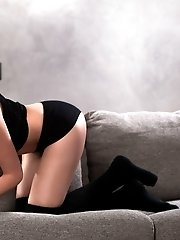 This Wonderfully Shaped Brunette Just Loves To Play Around With Herself And Touch That Wonderful Pin