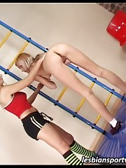 Lesbian trainer helps a girl exercise and seduces her