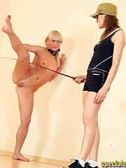 Sports mistress brutalizes a naked gymnast