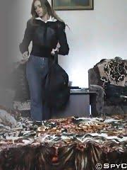 Undressing girl caught on bedroom spy cam