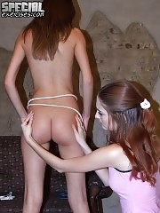 Perverted gymnastics coach training a cute hottie