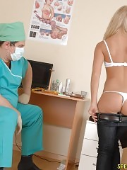 Discomfited naked blondie and her nasty male doc