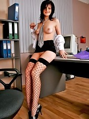 Tall brunette secretary Roxy showing great tits