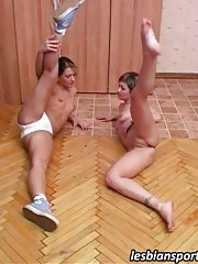 Two naked gymnasts exercising and making out