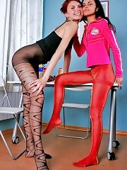 Karolina and Bella eat fruits and play with their red and black fashion pantyhose