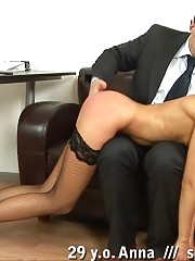 Disgraceful office self paddling in stockings