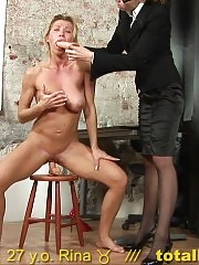 Test secretary cums with a dildo in the mouth