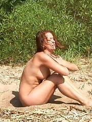 Hot naked gymnastics on the sunny beach