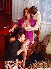 Mature lady have fun with 2 younger studs