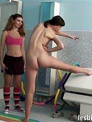 Lesbian milf trains a big-titted sports babe