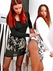 Barbara and Kleo licking each others pantyhose
