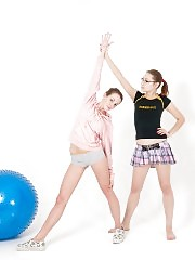 Lesbian strapon under the short sport skirt