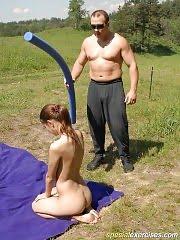 Perverted muscle man teases naked blondie alfresco