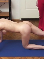 Busty naked gymnast trained in lesbian sports