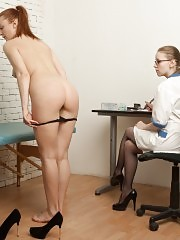 Long-haired nude patient shocked and trembling