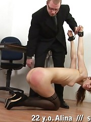 Self paddle spanking and flagellation in office