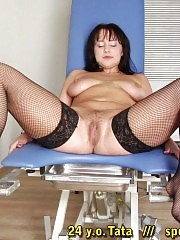 Busty babe in nylons at the maledom examination