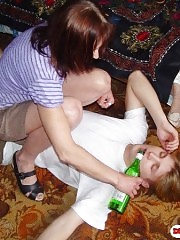 Drunk mature mom with her young boyfriend