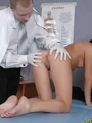 Male gynecologist exams a shocked chick