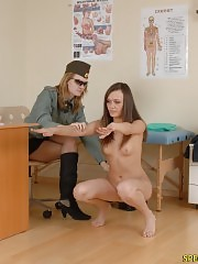 Undressed gal undergoes a military physical
