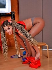 Longhaired Adeline does exercises in pantyhose