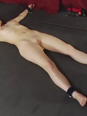 Nude army drill session in the shackles