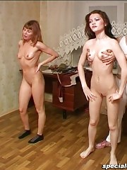 Two gymnastic cuties get leashed and touched
