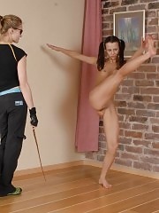 Submissive sports girl does yoga and gymnastics