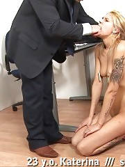 Office blondie bent over the knee for thrashing