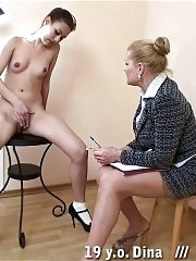 Bent over the female knees for a college spanking
