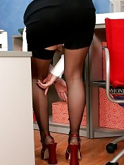Blonde secretary gets nasty and strips down