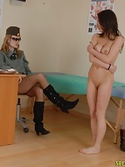 Naked chick does exercises at a military physical