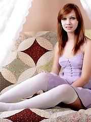 Wonderful Teen In Sexy White Stockings Stripping Dress And Showing Alluring Natural Pussy.