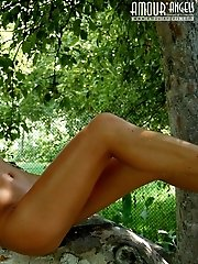 Attractive Girl With Awesome Breasts Taking A Bath In The Yard Of Her Country-house