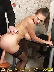 Busty candidate in stockings fucked with silicone cocks