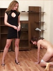 Scared nude foot-girl of a sports mistress