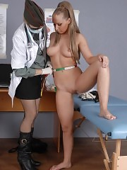 Chesty military girl at a gyno examination