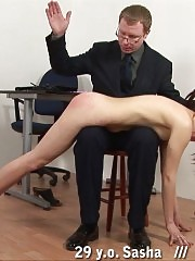 Obedience of an office girl to the male spanker