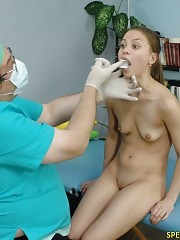 Shocked sports babe at a fetish medical exam