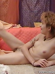 Slim redhead girl doing nude exercises