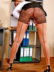 Blonde secretary Samanta takes down black skirt