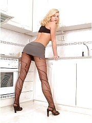 Dream blonde will tease you with her pantyhosed legs