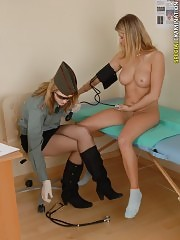 Physical and gyno checkup of a busty army newcomer