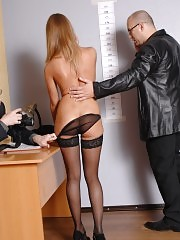 Undressed to stockings by a male staff manager