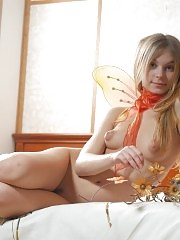 This awesome teen is fond of butterflies very much thats why today she looks like a butterfly too having nothing on her body but only wings.