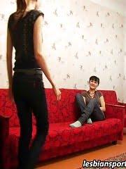 Slim girl takes pleasure in lesbian training