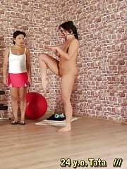 Fitness lesdom lesson given to a heavy trainee