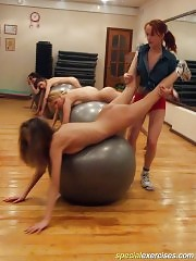 Naked schoolgirls made to work with fitballs