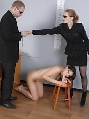 Fucking and cumming undressed female candidate